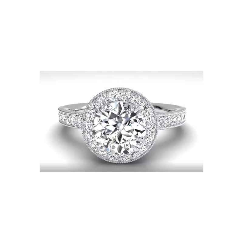 Ritani Clearance Vintage Halo Diamond Engagement Ring With Surprise Diamonds