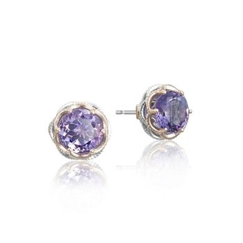 Tacori Crescent Crown Studs featuring Amethyst
