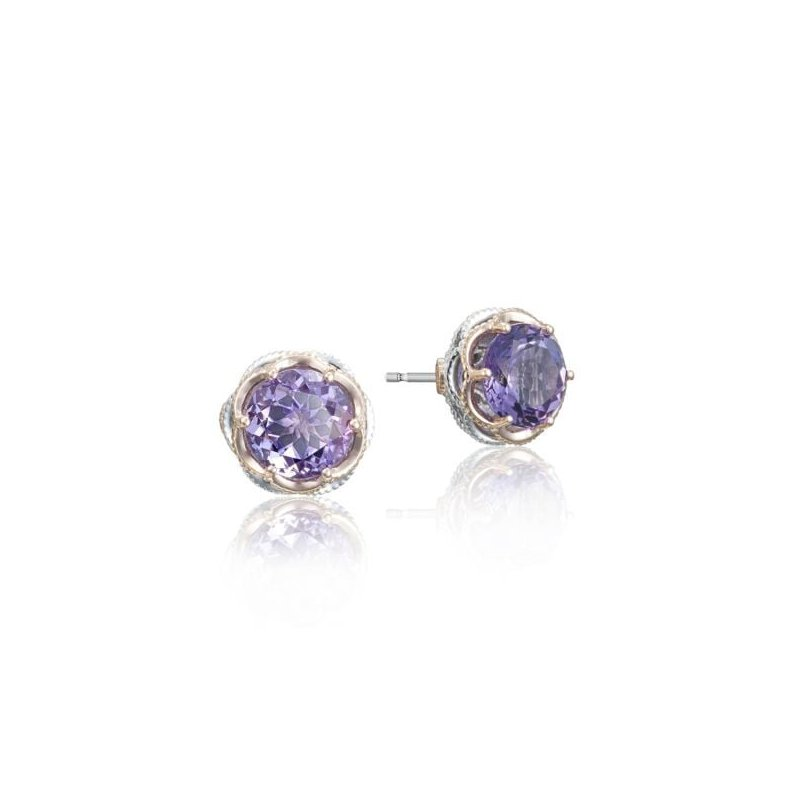 CLEARANCE Tacori Crescent Crown Studs featuring Amethyst