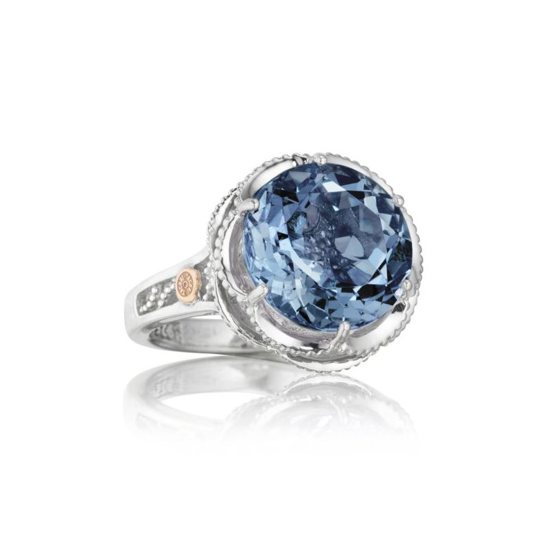 Crescent Gem Ring featuring London Blue Topaz
