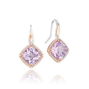 Pavé Bloom Drop Earrings featuring Rose Amethyst