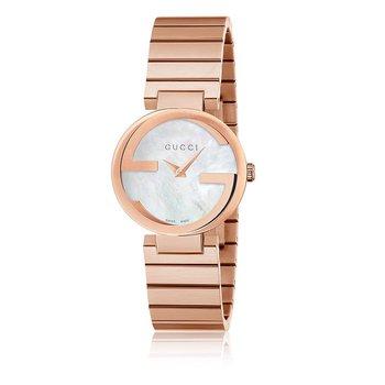 'Interlocking-G' Rose-Tone Stainless Steel Gucci Watch
