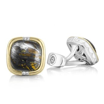 Tacori Cushion Cabochon Cuff Links featuring Tiger Iron