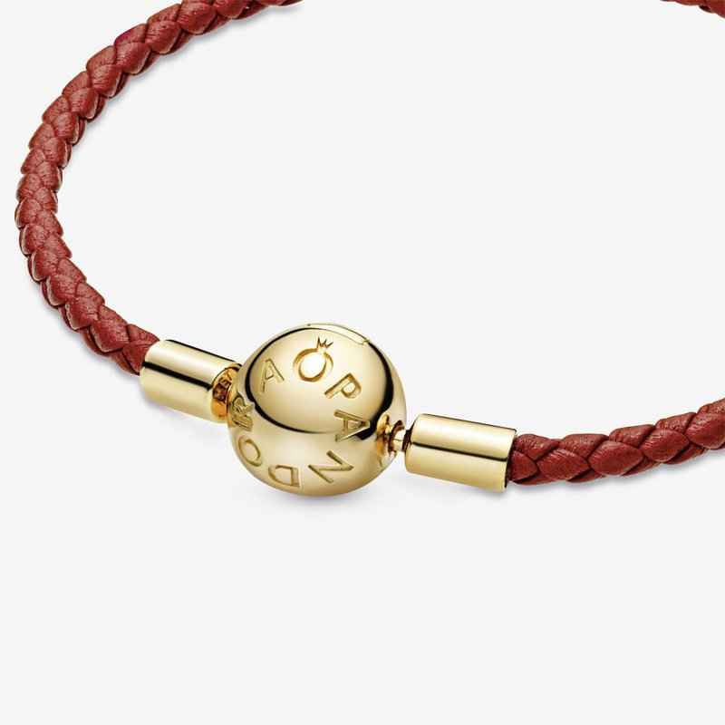 Pandora  Pandora Moments Red Woven Leather Bracelet