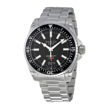 'Dive' Black Dial Stainless Steel Swiss Quartz Watch