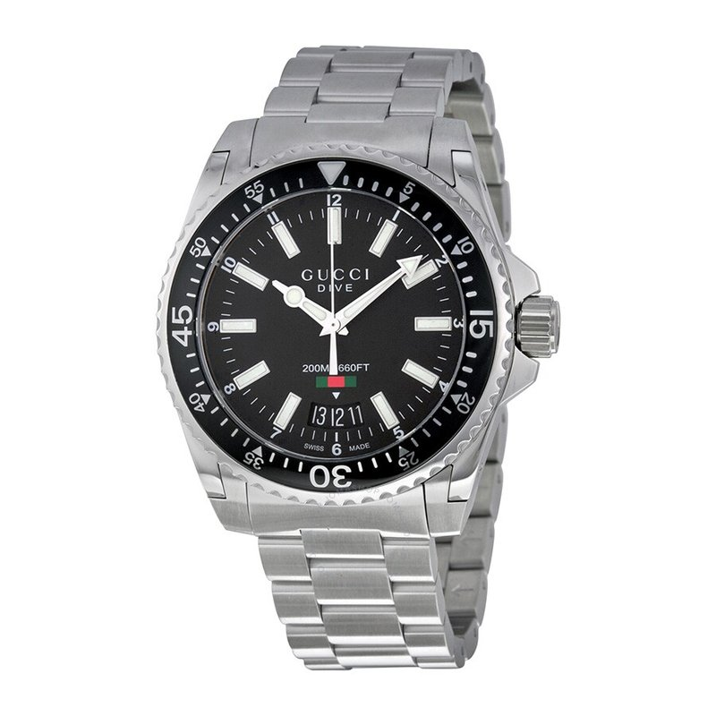 CLEARANCE 'Dive' Black Dial Stainless Steel Swiss Quartz Watch