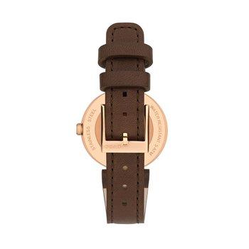 Interlocking Ladies Brown Leather Strap Watch