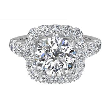 Masterwork Cushion Halo Diamond Band Engagement Ring