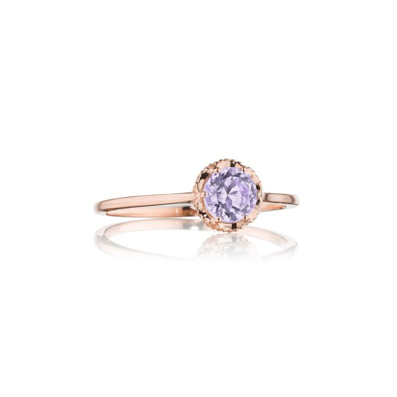 Petite Crescent Crown Gem Ring featuring Rose Amethyst
