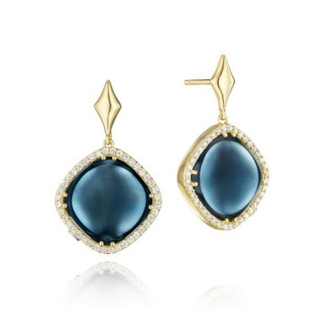 Tacori Pavé Cushion Cut Drop Earrings featuring Sky Blue Topaz over Hematite