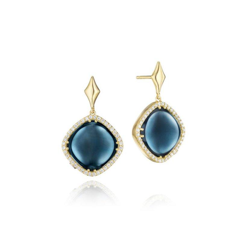 CLEARANCE Tacori Pavé Cushion Cut Drop Earrings featuring Sky Blue Topaz over Hematite