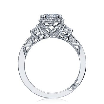 Dantela Three Stone Platinum Engagement Ring