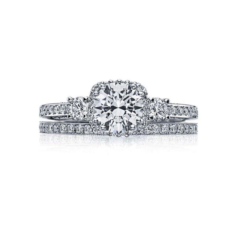 Tacori Dantela Three Stone Platinum Engagement Ring