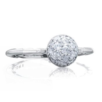 Petite Pavé Dew Drop Ring in Silver with diamonds