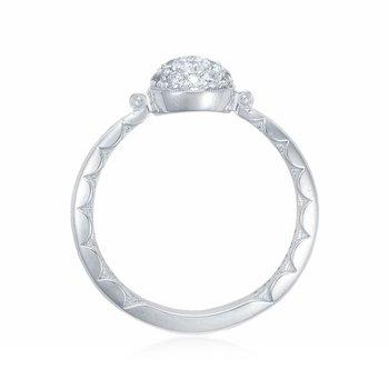 Tacori Petite Pavé Dew Drop Ring in Silver with diamonds