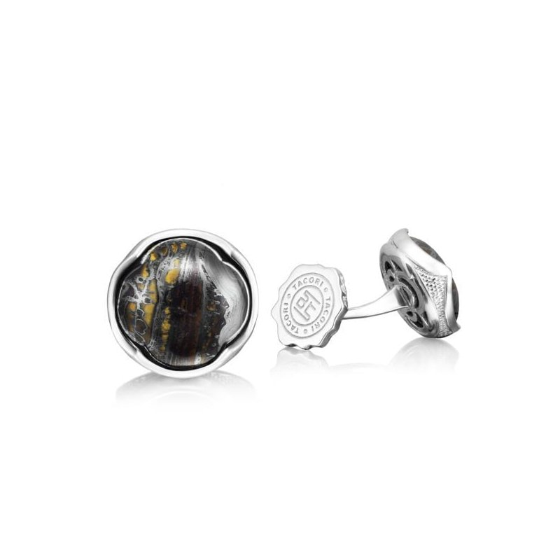 CLEARANCE Tacori Retro Classic Cabochon Cuff Links featuring Tiger Iron