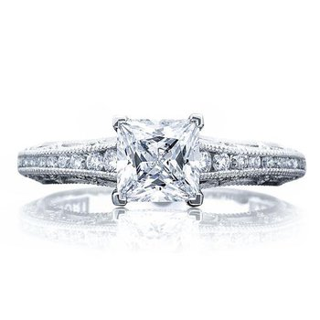 Tacori Reverse Crescent Princess Cut White Gold Engagement Ring