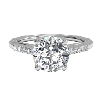 Solitaire Diamond Modern French-set Band Engagement Ring