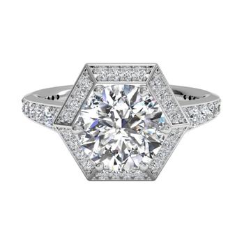 Vintage Hexagonal Halo Vaulted Diamond Band Engagement Ring