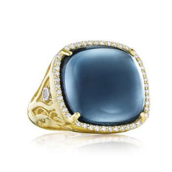 Tacori Pavé Cushion Cabochon Ring featuring Sky Blue Topaz over Hematite