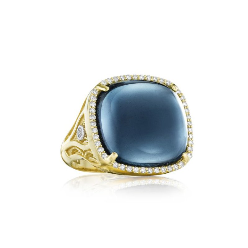 CLEARANCE Tacori Pavé Cushion Cabochon Ring featuring Sky Blue Topaz over Hematite