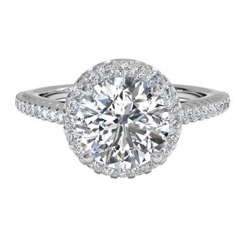 Classic French-set Halo Diamond Band Engagement Ring
