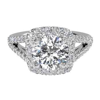 Cushion Halo Diamond 'V' Band Engagement Ring