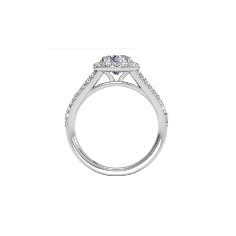 Ritani Clearance Cushion Halo Diamond 'V' Band Engagement Ring