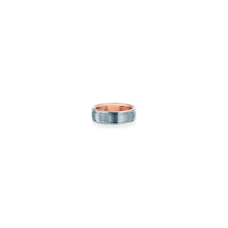 Verragio VW-7010 Mens White & Rose Gold Wedding Band