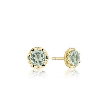 Petite Crescent Crown Studs featuring Prasiloite and Yellow Gold
