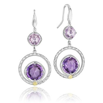Gem Ripple Earrings featuring Rose and Purple Amethyst