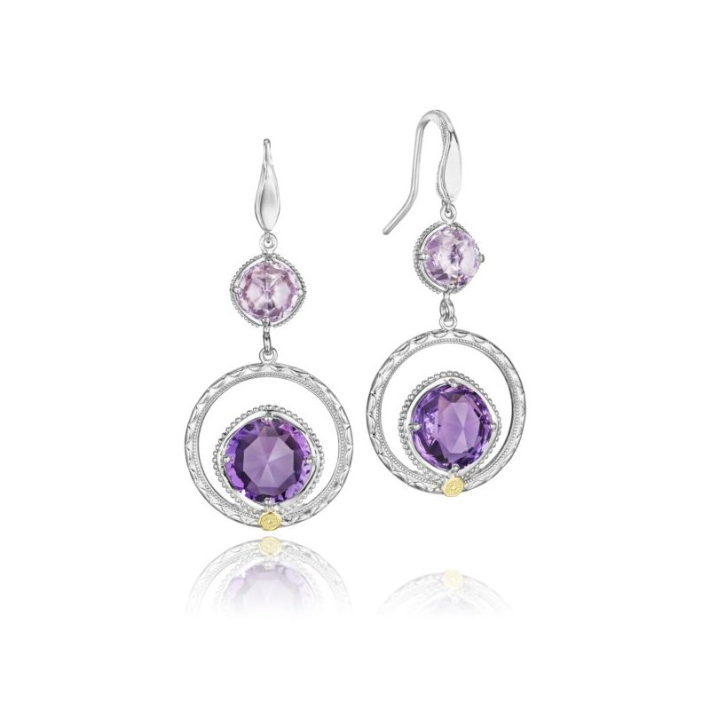 Tacori Gem Ripple Earrings featuring Rose and Purple Amethyst