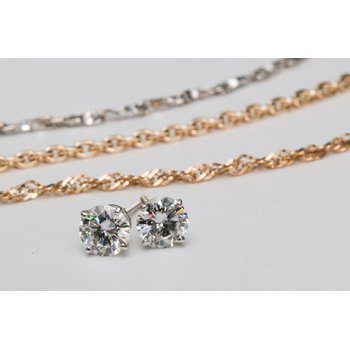 0.53ctw Lab Grown Luminus Diamond Stud Earrings - 14K White Gold