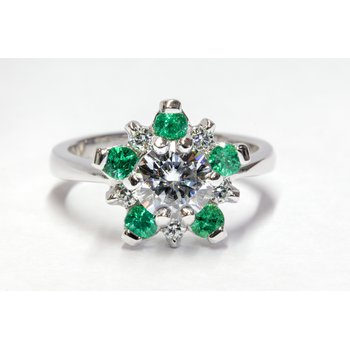 Moissanite and Emerald Ring
