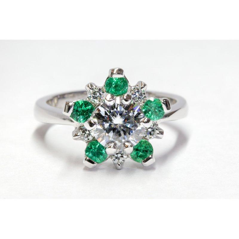 Rodan Jewellers Moissanite and Emerald Ring