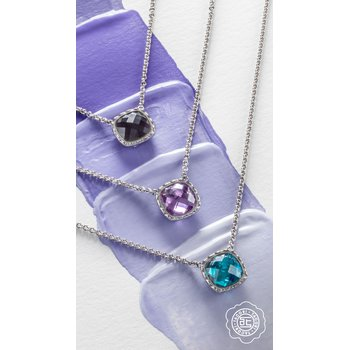 Cushion Gem Necklace with Amethyst