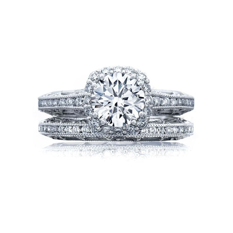Tacori Reverse Crescent Cushion Bloom Engagement Ring