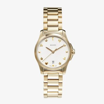 G-Timeless Silver Dial Gold PVD Ladies Watch