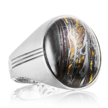 Tacori Oval Cabochon Ring featuring Tiger Iron