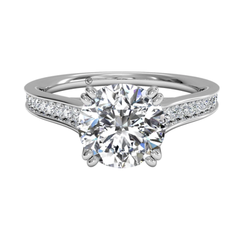 Micropavé Diamond Band Engagement Ring With Surprise Diamonds