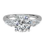 Ritani Clearance Three-stone Diamond Engagement Ring With Pear-shaped Side-diamonds