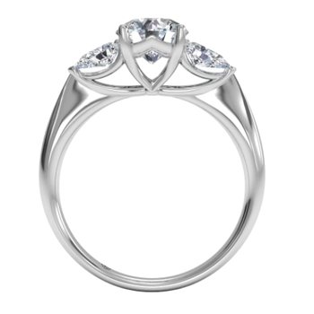Three-stone Diamond Engagement Ring With Pear-shaped Side-diamonds