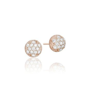 Tacori Petite Rose Gold Dew Drop Stud featuring Pavé Diamonds