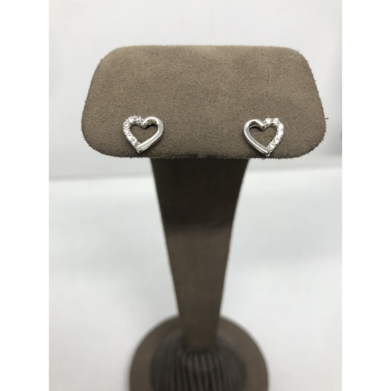 CLEARANCE White gold heart earrings with CZ