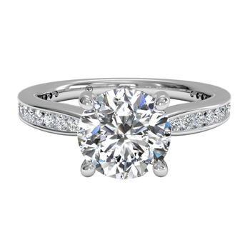 Tapered Channel-set Diamond Band Engagement Ring