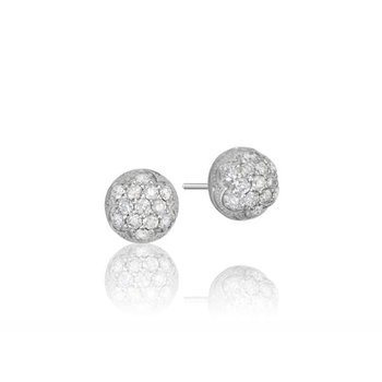 Tacori Petite Silver Dew Drop Stud featuring Pavé Diamonds