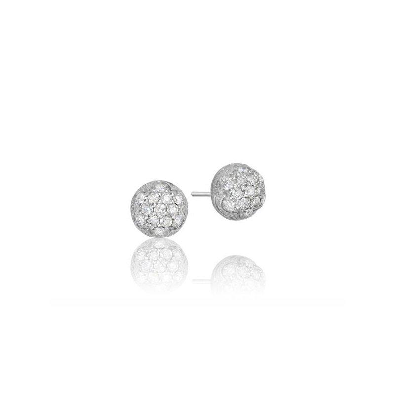 CLEARANCE Tacori Petite Silver Dew Drop Stud featuring Pavé Diamonds