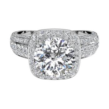 Masterwork Cushion Halo Triple Diamond Band Engagement Ring With Surprise Diamonds