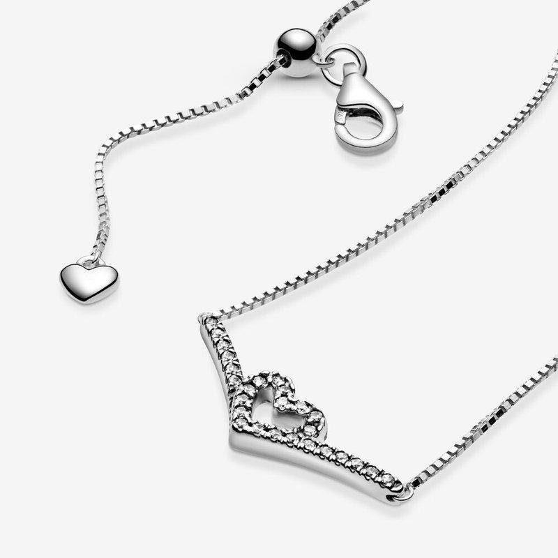 Pandora Sparkling Wishbone Heart Collier Necklace