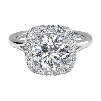 French-set Halo Diamond Engagement Ring